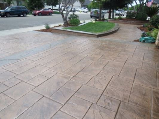 this is an image of concrete driveway in manteca, california.